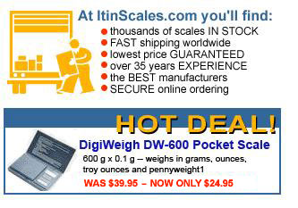 Itin Scale Company - thousands of scales IN STOCK, FAST shipping worldwide, lowest prices GUARANTEED, over 35 years EXPERIENCE, the BEST scale manufacturers and SECURE online ordering